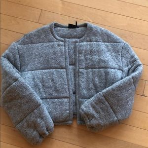 Urban Outfitters Fabric Grey Puffer Jacket